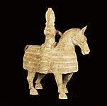 Wei dynasty mounted equestrian figure (side)